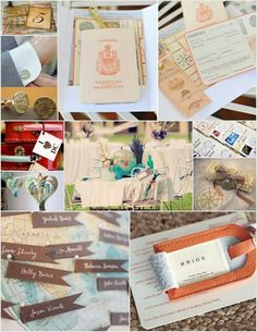 travel themed wedding inspiration...print items and escort cards with a spanish influence