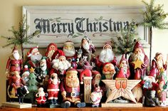 Santa Collection Display. I love Santas and have a collection of my own. It's nice to see what other's collections look like too. This is from marmeeandcompany.blogspot.com