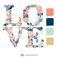 Coral, Navy, Celadon, and Gold Wedding Color Palette - free custom artwork created at MagnetStreet.com