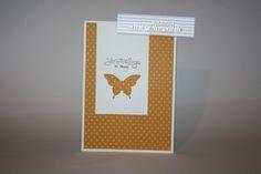 Stampin' Up! Grußkarte » Frühlingsgefühle » Espresso, Flüsterweiß, Mango » Eleganter Schmetterling » #SU