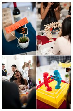 use your favorite childhood games for wedding reception centerpieces. fun for your guests!