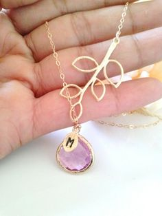 branch with lavender glass stone necklace,bridesmaid jewelry,bridesmaid gift,pink  stone necklace,personalized,initial necklace