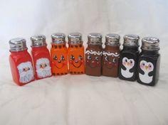 Hand Painted Salt & Pepper Shakers by Weaverartsandcrafts on Etsy, $10.00