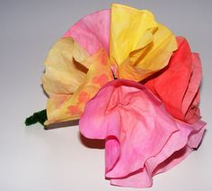 """coffee filter"" flower bouquets for mothers day! Dilute the paint with water and paint the filters and wrap on green wire stem!!!"