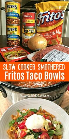 cooking recipes Today's slow cooker recipe is sure to have family and friends cheering - Slow Cooker Smothered Fritos Taco Bowls, a crowd pleasing meal! Slow Cooker Smothered Fritos Taco Bowls AKA, Fristos Pie - Just Crockpot Dishes, Crock Pot Cooking, Cooking Recipes, Healthy Recipes, Easy Crock Pot Meals, Easy Crockpot Recipes, Crockpot Chicken Tacos, Recipes For One, Cooking Icon