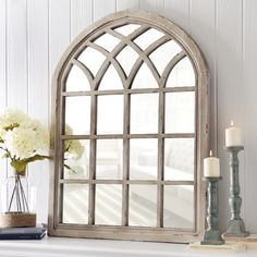 cream wooden vintage country window mirror wall mounted shabby vintage style