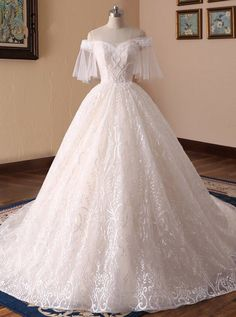 Lace Wedding Dresses with Short Sleeves,Princess Ball Gown Wedding Dress, Romantic wedding dresses corset, 11716 - Short Lace Wedding Dress, Wedding Dress Sleeves, Perfect Wedding Dress, Wedding Dress Styles, Corset Wedding Dresses, Prom Dress, Princess Ball Gowns, Princess Wedding Dresses, Bridal Dresses