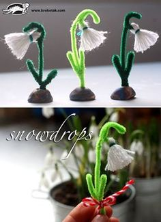 Diy and crafts Fabric Crafts - A Snowdrop from Thread Craft Activities For Kids, Projects For Kids, Diy For Kids, Craft Projects, Crafts For Kids, Spring Art, Spring Crafts, Flower Crafts, Diy Flowers