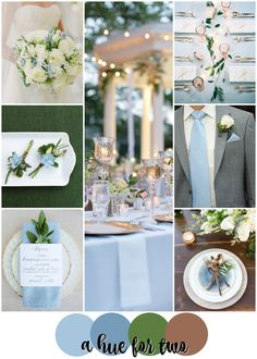 Light Blue, Green and Copper Classy Wedding Colour Scheme - Spring and Summer Weddings - Wedding Colours - A Hue For Two | www.ahuefortwo.com