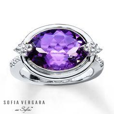 SOFIA VERGARA Ring Amethyst/White Topaz Sterling Silver