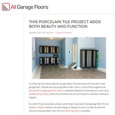 Our porcelain tile garage floor has been featured at All Garage Floors. Check it out to find out why we went with porcelain, how we chose it and more. Finished Garage, Cheap Houses, Tile Projects, Laundry Room Storage, Do It Yourself Home, Storage Cabinets, Porcelain Tile, Home Improvement Projects, Floors