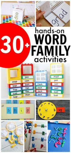 Fun Word Family Activities & Games Over 30 awesome hands-on word family activities! Great for beginning readers!Over 30 awesome hands-on word family activities! Great for beginning readers! Word Family Activities, Literacy Activities, Educational Activities, Family Games, Language Activities, Teaching Resources, Teaching Ideas, Handwriting Activities, Literacy Centers