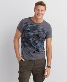 American Eagle Brooklyn Graphic Crew T-Shirt, Men's, Grey