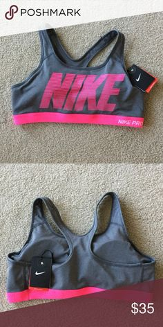 Nike Pro Padded Sports Bra Pink and Grey Brand new with tags. Nike padded sports bra. Medium Support. No trades Nike Intimates & Sleepwear Bras