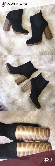 "Faux Suede Chelsea Booties - 9 Worn 1x! Near Perfect Condition. Faux Suede Material, Stacked Platform Heel, Almond Shaped Toe, Elastic Side Panels with Pull On Tab. Heel is 4.5"". Shaft is 9.25"". Bought @ Forever 21 ❤️❤️❤️ Forever 21 Shoes Ankle Boots & Booties"