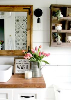 Flush and Wash Wooden Framed Sign - must get for downstairs bath!