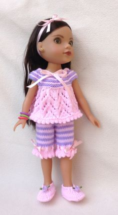 Pyjamas for 13 or 14 inch dolls by UKgr8KNITS on Etsy, £6.99