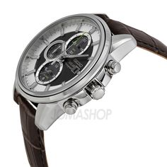 Seiko Solar Chronograph Black and White Dial Brown Leather Mens Watch SSC259P1