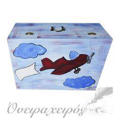 """"""" ΑΕΡΟΠΛΑΝΟ """"  Σετ Βάπτισης με με Ξύλινο Μπαούλο ζωγραφισμένο στο χέρι Decorative Boxes, Decorative Storage Boxes"""