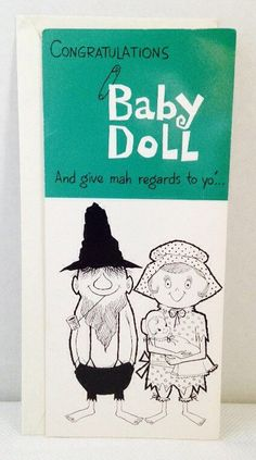 Unused, Vintage, 1980's Hillbilly Congratulations for a Baby Girl Greeting Card & Envelope, Funny, Humor