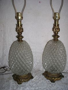 Vintage Stunning Pair Hollywood Regency Glass Pineapple Shape Large Table  Lamp | EBay