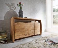 Sideboard Live-Edge 145 cm Akazie Natur 3 Türen Möbel Kommoden & Schränke Sideboards