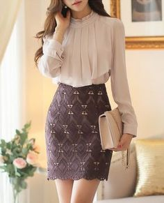 In terms of well designed summer months outfits, there are many of looks to choose from, but always elegant is fashionable. Mode Outfits, Office Outfits, Classy Dress, Classy Outfits, Elegant Outfit, Next Dresses, Dresses For Work, Work Fashion, Asian Fashion