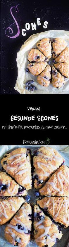 Scones! Vegan & gesund! Ohne Zucker, mit Kokosmilch & Dinkelmehl ... Kennst du Scones? Sie passen zum Frühstück und zum Kaffee! Mhmmm so köstlich!