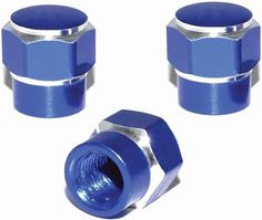 "Amazon.com : (3 Count) Cool and Custom ""Short Two Tone Hexagon with Easy Grip Shape"" Tire Wheel Rim Air Valve Stem Dust Cap Seal Made of Genuine Anodized Aluminum Metal {True Mitsubishi Blue and Silver Colors - Hard Metal Internal Threads for Easy Application - Rust Proof - Fits For Most Cars, Trucks, SUV, RV, ATV, UTV, Motorcycle, Bicycles} : Sports & Outdoors"