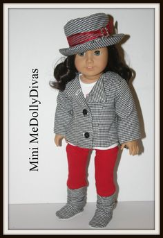 Trendy hounds-tooth and red outfit to fit your 18 inch american girl or similar doll , jacket, hat, shoes, leggings and tshirt