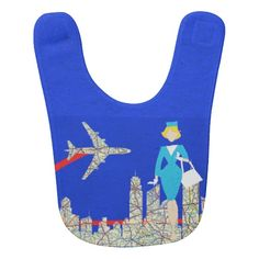 Retro Flight Attendant Baby Bib--Open wide! Here comes the airplane! #MidCentury #baby #pregnancy #infant #toddler #bibs #retro #airplanes #Zazzle