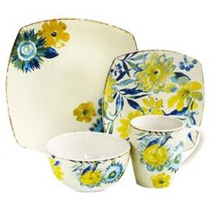 """Sixteen-piece earthenware dinnerware set with a floral motif.  Product: 4 Dinner plates4 Salad plates4 Bowls4 Mugs Construction Material: EarthenwareColor: Blue and yellow Features: Lush floral motif Dimensions: Dinner Plate:  10.75"""" W x 10.75"""" D eachSalad Plate: 8.25"""" W x 8.25"""" D eachBowl: 6.5"""" Diameter eachMug: 4"""" W each     Cleaning and Care: Dishwasher safe"""