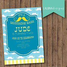 Mustache Birthday Invitation, Mustache Bash Invite, Mustache Birthday Invite, DIY Printable