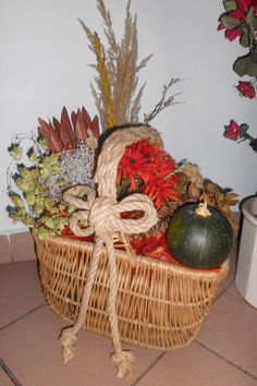 my fall decorations in the hallway at work... old basket got a new life