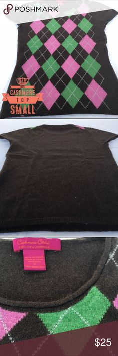 💯% CASHMERE Argyle Top - SMALL Cashmere Argyle Top Brand is 'Cashmere Caché' Short Sleeves Brown Argyle Sweater Size SMALL 100% 2-Ply Cashmere Cashmere Caché Tops Blouses