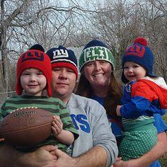 NY Giants football knitting hat pattern