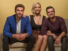 Jennifer Lawrence, Josh Hutcherson and Liam Hemsworth photographed at the Four Seasons Hotel in Los Angeles, CA. (x)