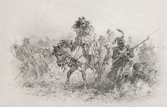 Malarz nieokreślony (XIX/XX w.)  Powrót spod Moskwy węgiel, kreda, szary papier; 26,8 x 40,5 cm (w świetle oprawy); sygn. p. d.: nieczytelnie