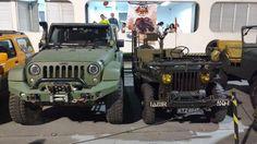 Jeep Wrangler e um Jeep 1942. O novo e o antigo ou o filho e o avô...