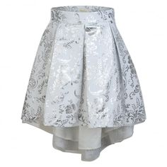 Miss Grant Girls White Skirt with Silver Baroque Print and Waterfall Hem