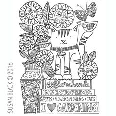 happiness is ... flowers, a cat and a pile of library books  a page from my new colouring book @amazon (link in profile) #happinessis #simplejoys #catsandflowers #coloringbook #allyouneed #susanblackdrawing Colouring, Coloring Books, Susan Black, D Flowers, Library Books, Happiness, Profile, Joy, Amazon