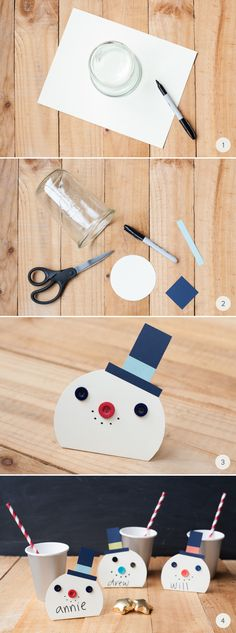 Have a holly jolly Christmas with these DIY: Snowman Place Cards.
