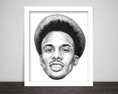scribbled face of August Alsina  -   High-quality art-print from original ink drawing.