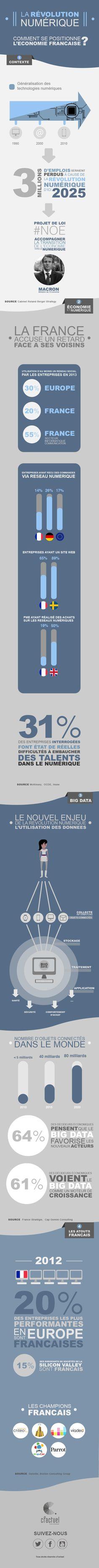 Infographie : la révolution numérique - Le ministre de l'Economie E. Macron souhaite une loi permettant à la France de passer à une économie du numérique. L'enjeu est de taille. Les créations d'emplois potentielles sont importantes. Les destructions sont elles certaines. En savoir plus sur cFactuel : http://www.cfactuel.fr