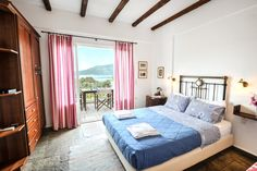 Interior Double bed room in YERA house with stunning views over idyllic Gulf of Gera Service Quality, Double Beds, Bed Room, Lodges, Greece, Island, Traditional, Building, Interior