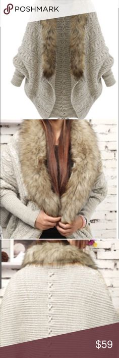 Faux fur lined cocoon cardigan Faux fur lined cocoon cardigan. Great transition piece into fall. One size fits many. Bust is 30-43 in. Shoulder is 14-14.5 in. Sleeve is 23.4 in. Length is 29 in. Cotton blend dry clean only. New without tags retail. Ships within one week. Shop Nicety Jackets & Coats