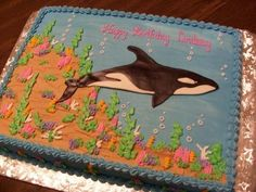 Buttercream with fondant orca.  For a young lady taking a trip to go whale watching!  What Id give to take a trip like that!  TFL!