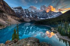 """Fire Over Moraine by Chris Muir on 500px """"Last shot from my trip to moraine right as the sun set behind the mountain. This is a stunning place to visit."""""""