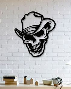Kuru Kafa Metal Tablo - Skull