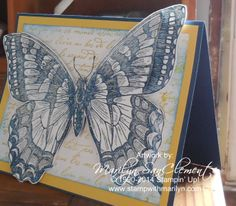 Swallowtail side view -  by Marilyn SanClemente, a 3D Swallowtail butterfly card. Details on my website at: http://stampwithmarilyn.com/2014/02/throw-back-thursday-swallowtail/